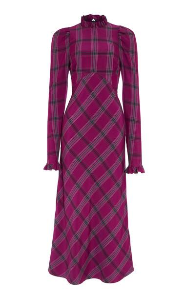 Temperley London Isobel Check Dress Size: 8 in purple