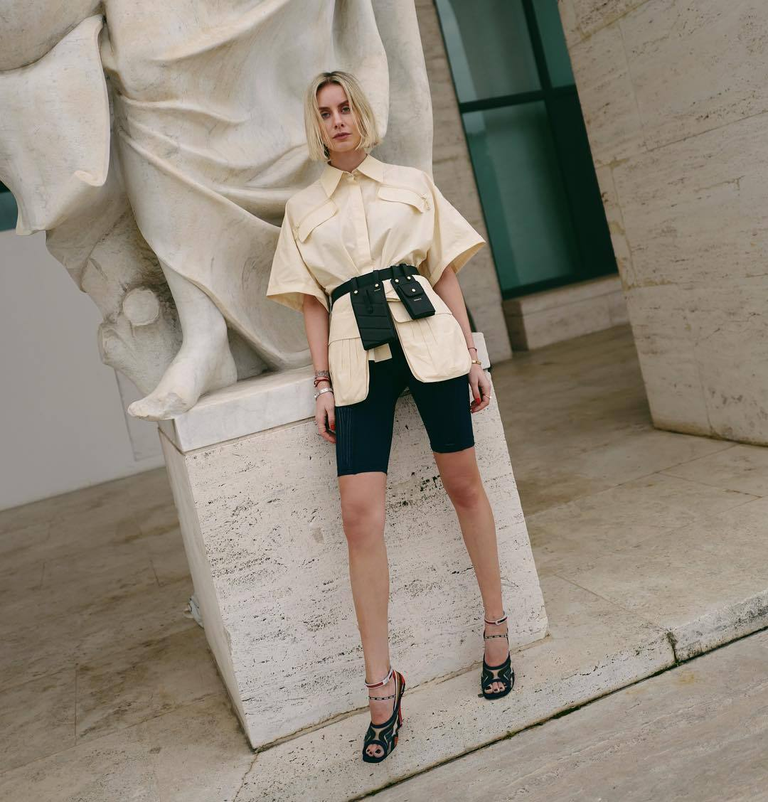 bag belt bag fendi mules black shorts shirt short sleeve