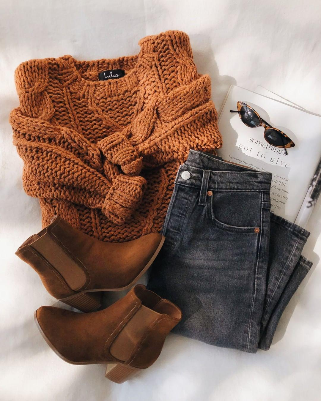 jeans shoes sunglasses sweater