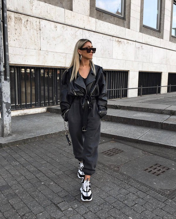 shoes sneakers versace joggers black leather jacket black top sunglasses
