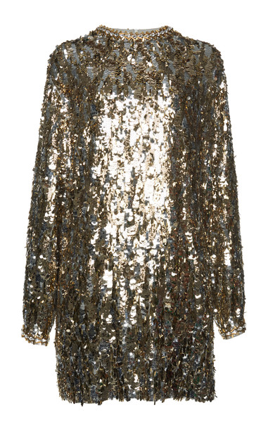 Prada Crystal-Embellished Sequined Tulle Mini Dress Size: 42 in metallic