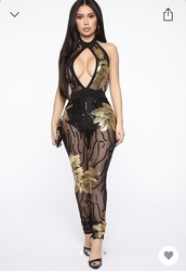 jumpsuit,black,gold,sheer,sequence,pattern