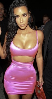 dress,trendy,sexy,satin,girly,girl,girly wishlist,kim kardashian,kim kardashian dress,kim kardashian style,pink,pink dress,sexy dress,bodycon dress,bodycon,cut-out