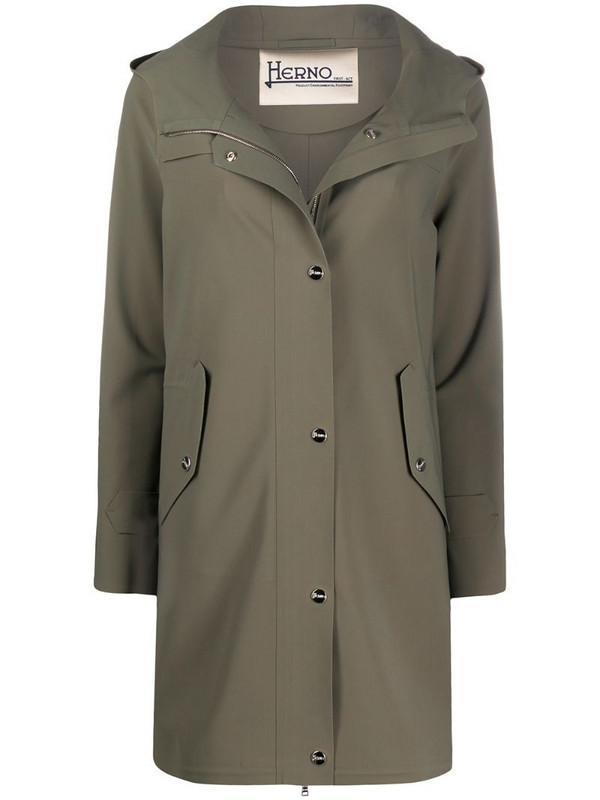 Herno long hooded coat in green