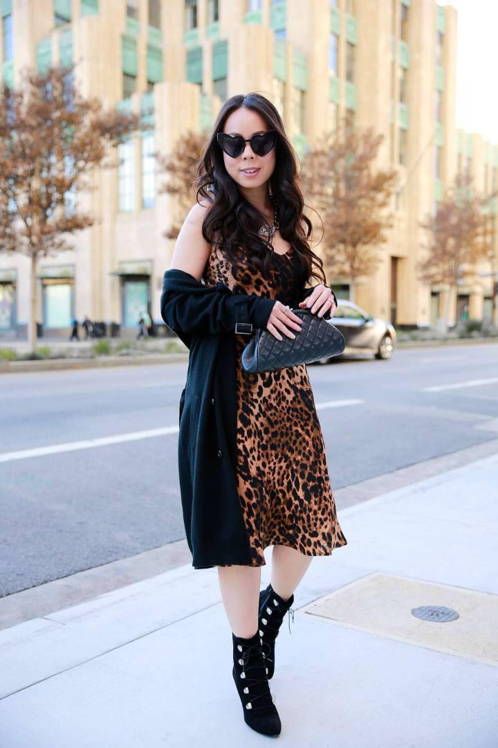 hautepinkpretty blogger coat jewels bag shoes dress sunglasses leopard dress clutch spring outfits
