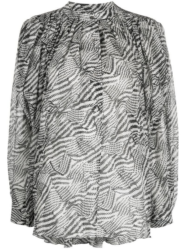 Isabel Marant abstract-print pleated blouse in white