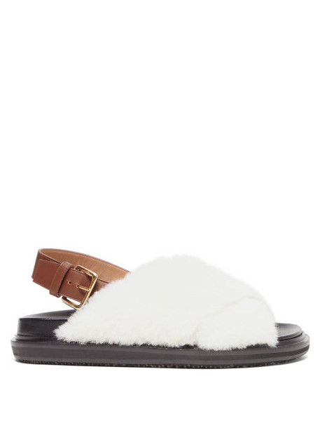 Marni - Fussbett Shearling And Leather Slingback Sandals - Womens - White