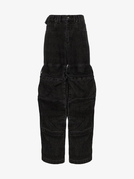Y/Project cargo pocket flared jeans in black