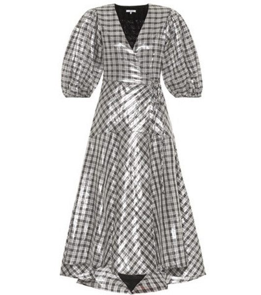 Ganni Largarde metallic silk-blend dress in silver