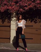 top,white blouse,crop tops,puffed sleeves,silk,pumps,handbag,black pants,mango