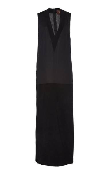 ALBUS LUMEN V-Neck Linen-Suede Dress Size: 8 in black