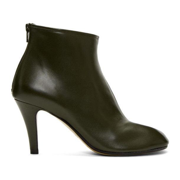 Maison Margiela SSENSE Exclusive Green Stiletto Tabi Boots