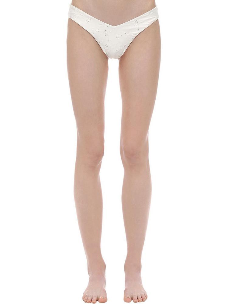ONIA X WEWOREWHAT Delilah Eyelet Lace Bikini Bottoms in white