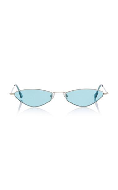 Andy Wolf Eyewear Eliza Sun Oval-Frame Metal Sunglasses in blue