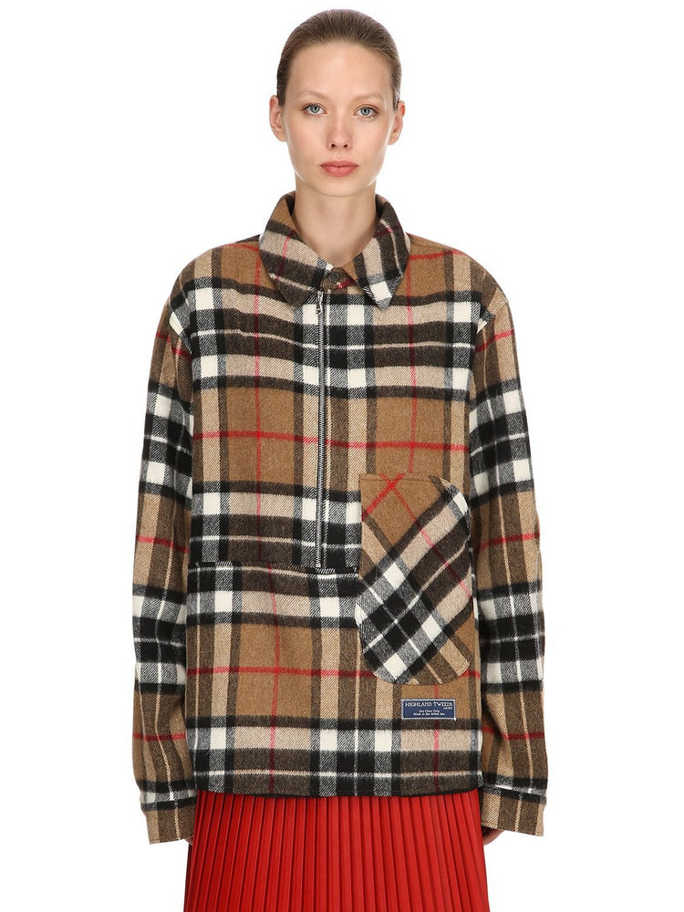 WE11 DONE English Wool Check Plaid Shirt Jacket in beige