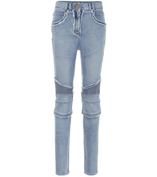 Balmain Distressed high-rise skinny jeans in blue