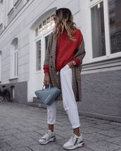 shoes,sneakers,fendi,white pants,grey bag,balenciaga,plaid coat,hoodie