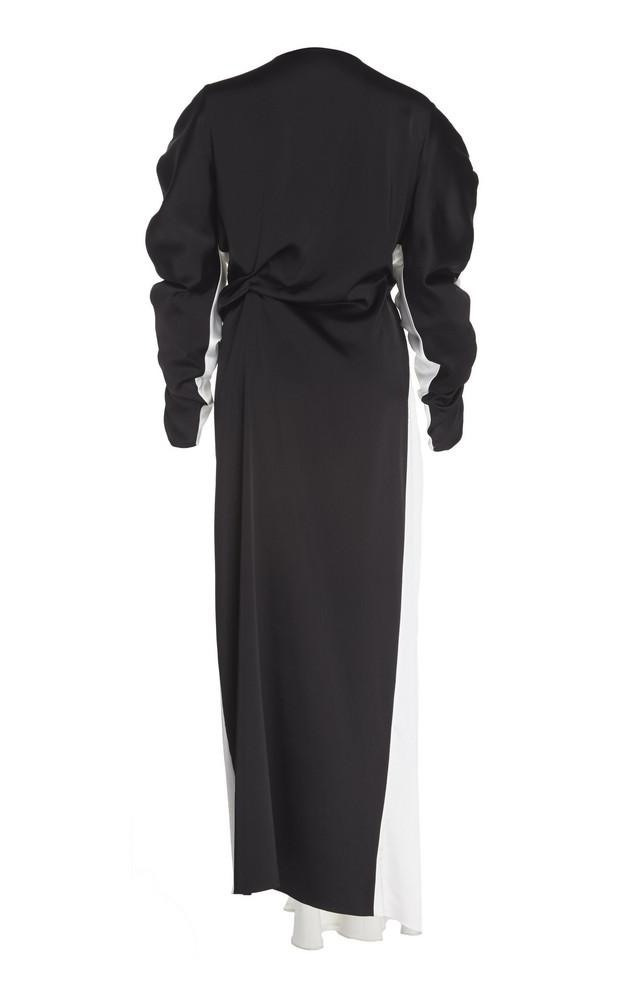 A.W.A.K.E. A.W.A.K.E. Reversible Gathered Crepe De Chine Maxi Dress in black