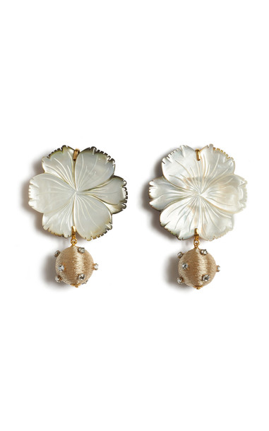 Lizzie Fortunato Pearl Blossom Earrings in white