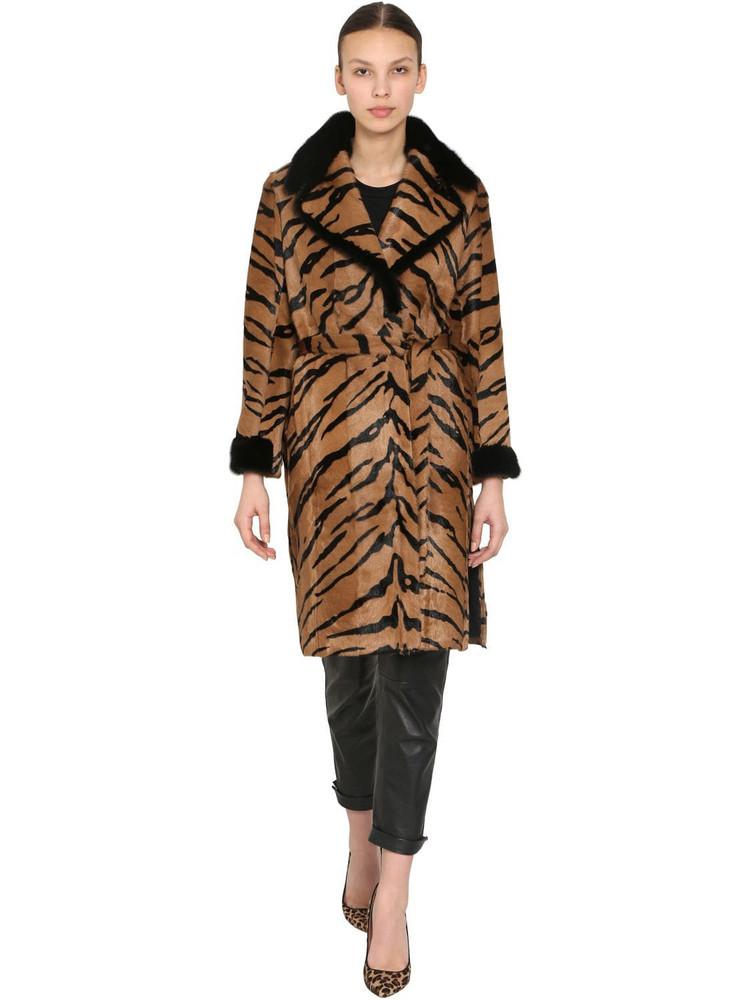 SIMONETTA RAVIZZA Nina Cognac Printed Mohair & Fur Coat