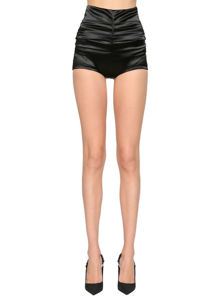 DOLCE & GABBANA High Waist Stretch Raso Shorts in black
