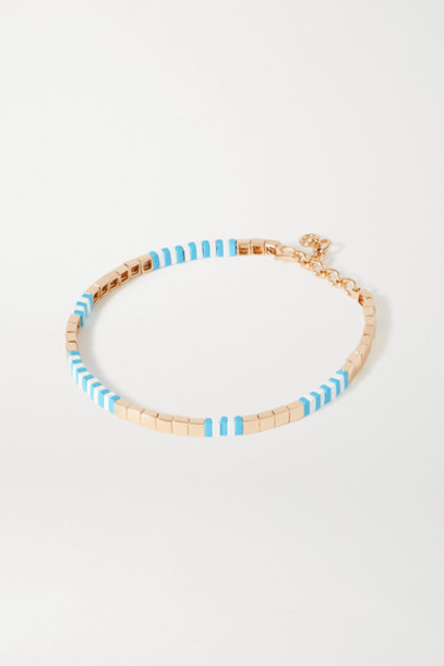 Roxanne Assoulin - Pool Enamel And Gold-tone Necklace - Light blue