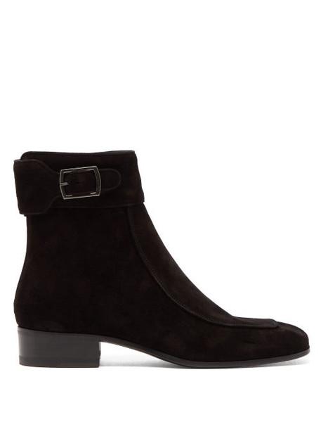 Saint Laurent - Miles Suede Ankle Boots - Womens - Black