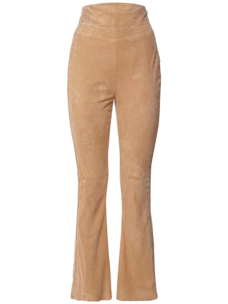 ALBERTA FERRETTI High Waist Suede Wide Leg Pants in beige