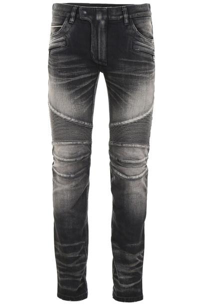 Balmain Washed Biker Jeans in noir