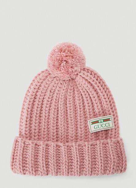 Gucci Wool-Knit Pom-Pom Beanie Hat in Pink size M
