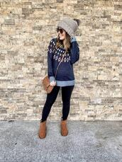 mrscasual,blogger,sweater,shoes,bag,sunglasses,leggings,hat,christmas sweater,winter sweater,winter outfits,beanie,winter boots