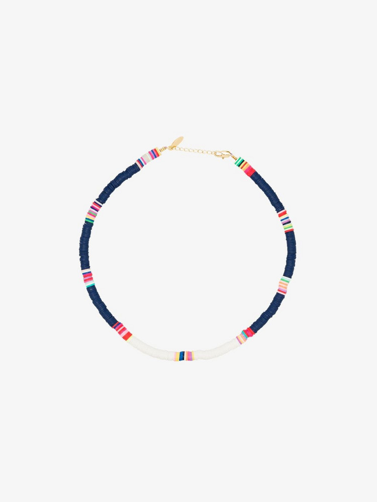 ALL THE MUST gold-plated beaded necklace in blue