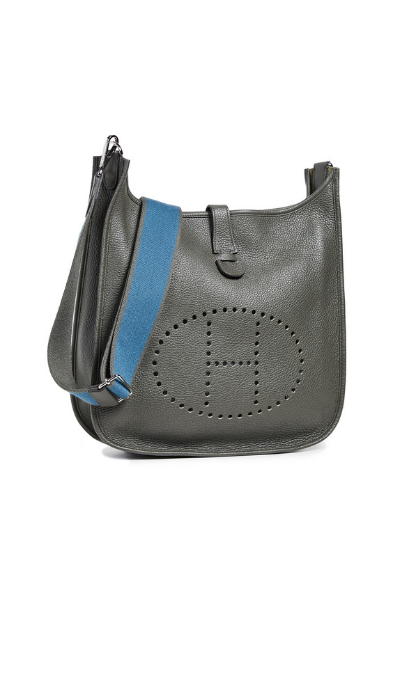 What Goes Around Comes Around Hermes Clem Evelyne Shoulder Bag in grey