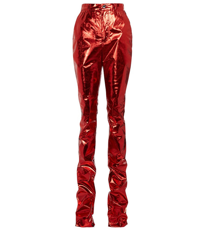 Dolce & Gabbana Metallic skinny pants in red