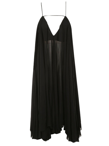 Jacquemus Sheer Pleated Dress in black
