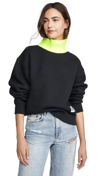 alexanderwang.t Dense Fleece Sweatshirt in black / yellow