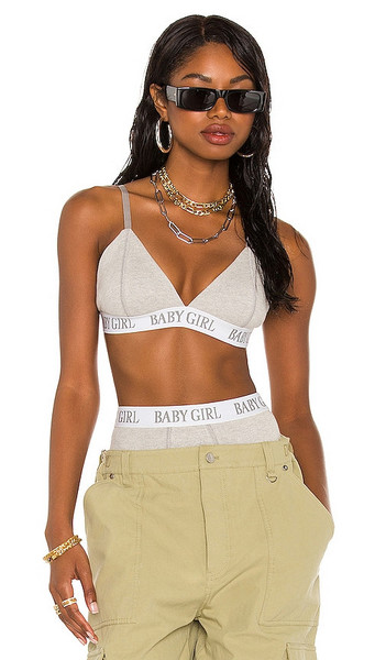 AALIYAH x REVOLVE Aaliyah Bra Top in Grey in gray / white