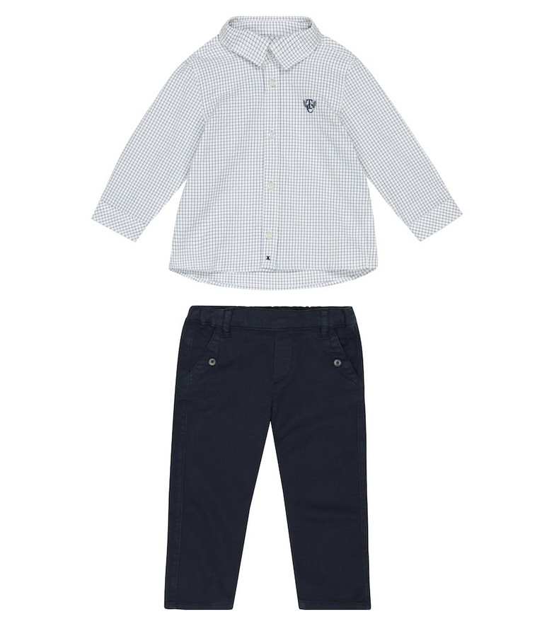 Tartine et Chocolat Baby checked cotton shirt and pants set in blue