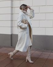 shoes,over the knee boots,midi dress,oversized coat,bag