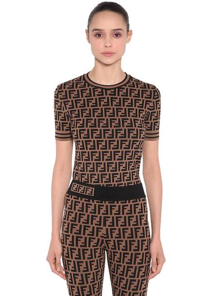 FENDI Logo Intarsia Knit Top in black / brown