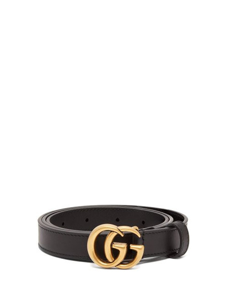 Gucci - Gg Leather Belt - Womens - Black
