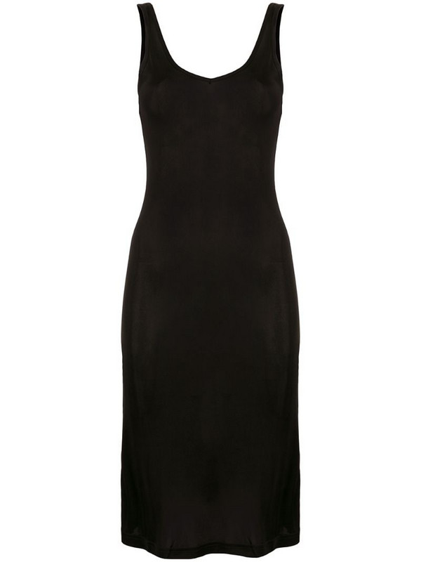Lisa Von Tang silk fitted tank dress in black