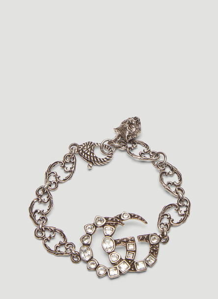 Gucci Crystal Double G Chain Bracelet in Silver size One Size
