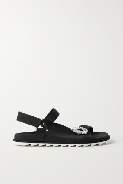 Roger Vivier - Slidy Espa Crystal-embellished Grosgrain And Suede Sandals - Black
