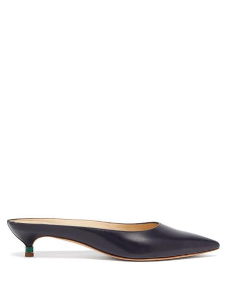 Gabriela Hearst - Rosendo Marble Effect Heel Leather Mules - Womens - Navy