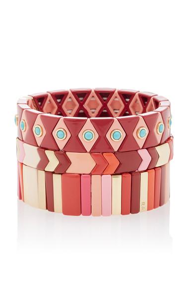 Roxanne Assoulin Set of Three Desert Rose Bracelets in red