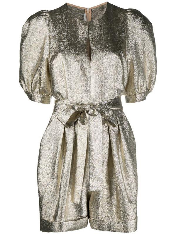 Stella McCartney metallic puff-sleeve belted playsuit in gold