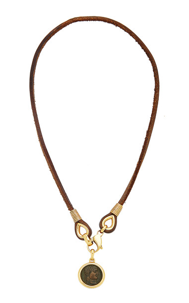 Eleuteri Vintage Bulgari 18K Yellow Gold and Leather Coin Necklace