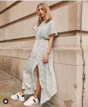 dress,short sleeve dress,midi dress,slit dress,white sneakers