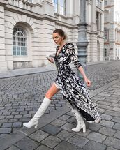 shoes,knee high boots,white boots,wrap dress,white bag
